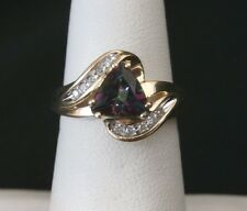 Beautiful 10k Yellow Gold Mystic Topaz and Diamond Ring  Make Offer! #1294