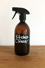 Amber Glass Bottle Trigger Spray Bottle 500ml With Customised Chalk Board Label