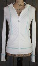 Athleta Organic Cotton Rib Zip Hoodie Sweater white w/ teal trim Size Small BB