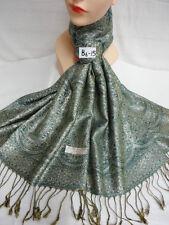 Reversible Metallic Silver Pashmina Bohemian Ethnic Hijab Scarf Shawl Teal