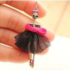 NWT ~ BETSEY JOHNSON SKELETON SKULL EARRINGS HOT PINK BLACK LACE PUNK