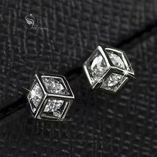 18k white gold gp genuine SWAROVSKI crystal wedding party stud earrings