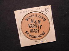 Nashville, Tennessee Wooden Nickel token - M&M Variety Mart Wooden Nickel Coin