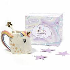 Cupcakes And Cartwheels Be A Unicorn Ceramic Mug With Star Wand Spoon