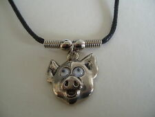 """PIGS HEAD WITH MOVING EYES NECKLACE / PENDANT WITH 16"""" BLACK CORD"""
