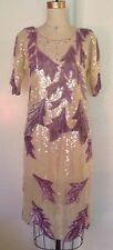 Vintage Hina Trading Co 100% Silk Formal Evening Wear S Top Skirt Purple Sequin