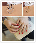 New Women's Double V Alloy Plated Silver & Gold Cute Ring Charms Jewelry GRAU