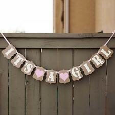 """It's a Girl"" Banner Baby Shower Heart Bunting Garland One Birthday Party Decor"