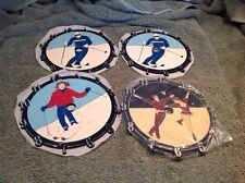 3 Skiers & 1 Ice Skating Couple Clock Faces New Old Stock Cypress Wood Clock