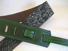 UNIQUE GREEN LEATHER / GREEN SNAKE GUITAR/BASS STRAP