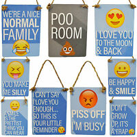 Mini Metal Funny Signs Emoji Emoti Hanging Novelty Toilet Family Home Love Smile