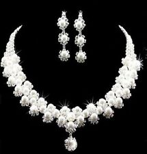 New Silver Rhinestone Crystal Pearl Necklace Earrings Jewelry Set For Wedding 02