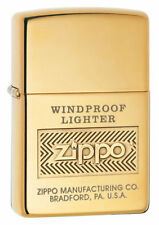 Zippo 28145, Windproof, High Polish Brass Lighter, **6 Extra Flints & Wick**