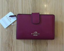 NWT AUTH COACH MEDIUM CORNER ZIP CROSSGRAIN LEATHER WALLET FUCHSIA PINK F54010
