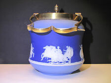 Wedgwood Tri-Color Pale Blue and Dark Blue Dip Jasper Ware Biscuit Barrel c.1880