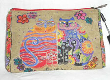 LAUREL BURCH - FELINE MINIS COSMETIC BAG - FLOWERING FELINES - NWT!