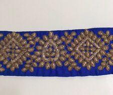 Azul atractivo indio de seda cruda con bordado de oro antiguo recorte/Encaje uno Mtr