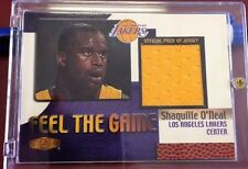 """SHAQUILLE O'NEAL 2000 FLAIR SHOWCASE """"FEEL THE GAME"""" GAME WORN JERSEY LAKERS"""