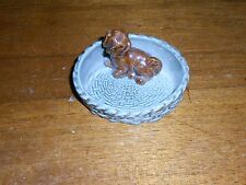 VINTAGE WADE FIGURINE PIN TRAY *DOG *PUPPY *WHIMTRAYS *MADE IN ENGLAND POTTERY
