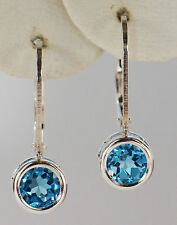 GENUINE NAT MINED LEVERBACK SWISS BLUE TOPAZ EARRINGS~STERLING SILVER~6MM