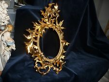 """#44E vtg 12"""" x 8""""  FREE STANDING metal OVAL picture Frame Brass color NOUVEAU"""