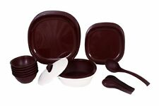 Signoraware Dinner Set with Double Wall Casserole, 27 Pcs  Maroon - 254