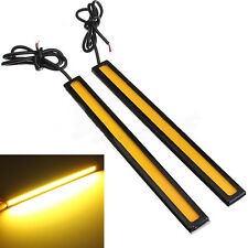 2X 12V LED COB Car Auto DRL Driving Daytime Running Lamp Fog Light Amber 17cm
