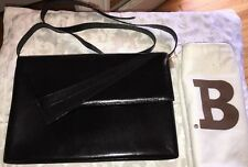VINTAGE BALLY BLACK LEATHER SHOULDER BAG PURSE/CLUTCH