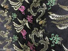 "CHINESE ORIENTAL GOLD DRAGON EMBROIDERED BROCADE SILKY DRESS FABRIC 44"" M52"