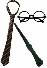 NEW WIZARD BOY FANCY DRESS COSTUME BOOK WEEK TIE BRANCH WAND & GLASSES 3 PIECE