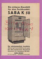 VILLINGEN, Werbung 1951, Saba-Werke SABAK 50 Absorptions-Kühlschrank