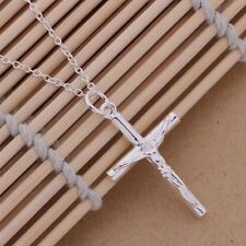 Ladies / Men's 925 Sterling Silver Cross Chain Crucifix Jesus Necklace Pendant