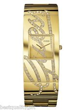 NEW-GUESS GOLD TONE S/STEEL+CRYSTAL PAVE LOGO BRACELET CUFF WATCH U15045L1