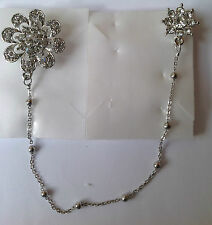 Diamante double Brooch With Chain d4