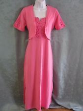 Denim & Co Long Dress Size XS Pink Lace-Trimmed Stretch Cotton Matching Shrug