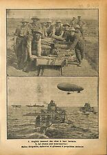 Tommies Obus Artillery British Army Dirigeable Hydravion  WWI 1918 ILLUSTRATION