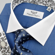 Size 42 Blue Navy Formal Business Dress Shirt White Contrast French Double Cuff