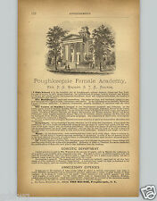 1878 PAPER AD Poughkeepsie New York Female Academy College Rev Wright Rector
