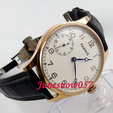 Parnis 44mm white Dial deployant clasp pilot 6497 hand-winding men's watch 220