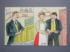 R&L Postcard: Cash Register, Shop Till, Man & Wife, 1916, BP Card
