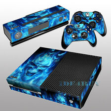 for X box One Console Kinect 2 free Controller Covers Blue Skull Skin Sticker