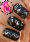 NAIL ART DECORATIONS WRAP WATER TRANSFER DECALS SILVER SWIRL LACE STRIPS #112