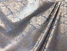 "Upholstery Drapery Fabric In Steel Blue & Gold Full Jac Design 110"" 4 Yards"
