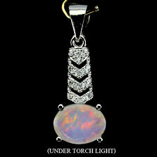 Sterling Silver 925 Genuine Natural White Fire Opal and White Topaz Pendant