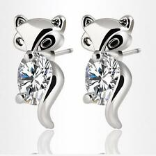 925 sterling silver filled Zircon stud Fox earrings exquisite fashion jewelry