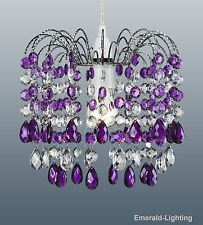 BARCELONA PURPLE PLUM CRYSTAL WATERFALL CASCADE CHANDELIER PENDANT LIGHT SHADE