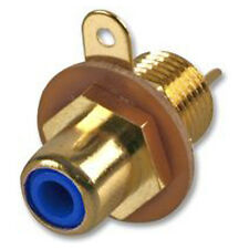 RCA Phono Chassis Panel Mount Gold Plated Female Socket Connector - Blue