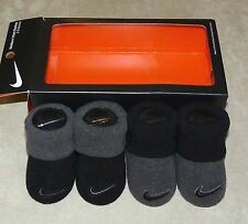 NIKE baby girls booties 2 pair swoosh logos black / dk gray 0-6 month NIB Sharp!