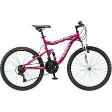 "Mongoose 24"" Mountain Bike Girls Pink Aluminium Bicycle Dual Suspension Shimano"