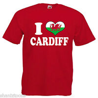 I Love Heart Cardiff Wales Adults Mens T Shirt 12 Colours Size S - 3XL